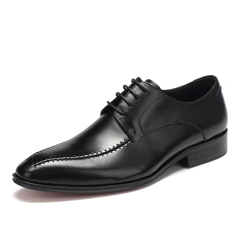Estilo Nueva Zapatos Goma Cuero Occidental Casual Suela Punta Retro Redonda De Genuino Lace 2018 up brown Black Hombres HxgOXqwfW