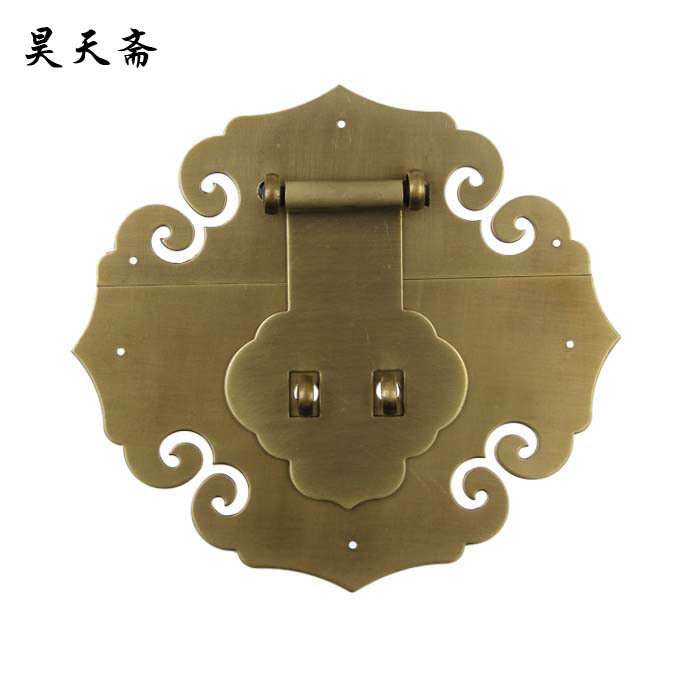 [Haotian vegetarian] copper antique Chinese wooden box padlock brand Ming and Qing classical accessories HTN-049 box brand [haotian vegetarian] antique copper box face page box buckle chinese decoration accessories htn 023