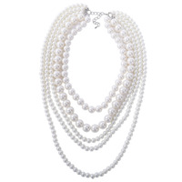 Selling Jewelry>>White 5 Strands Layer Pearl Bead Statement Pendant Bib Dress Long Necklace