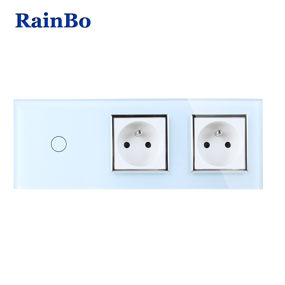 RainBo Crystal Glass Panel France Power Socket EU Touch  Socket Control Screen Wall Light Switch 1gang1way  A39118F8FCW/B touch smart home switch screen white crystal glass panel switch eu wall switch ac250v wall light switch 1 gang 1 way rainbo