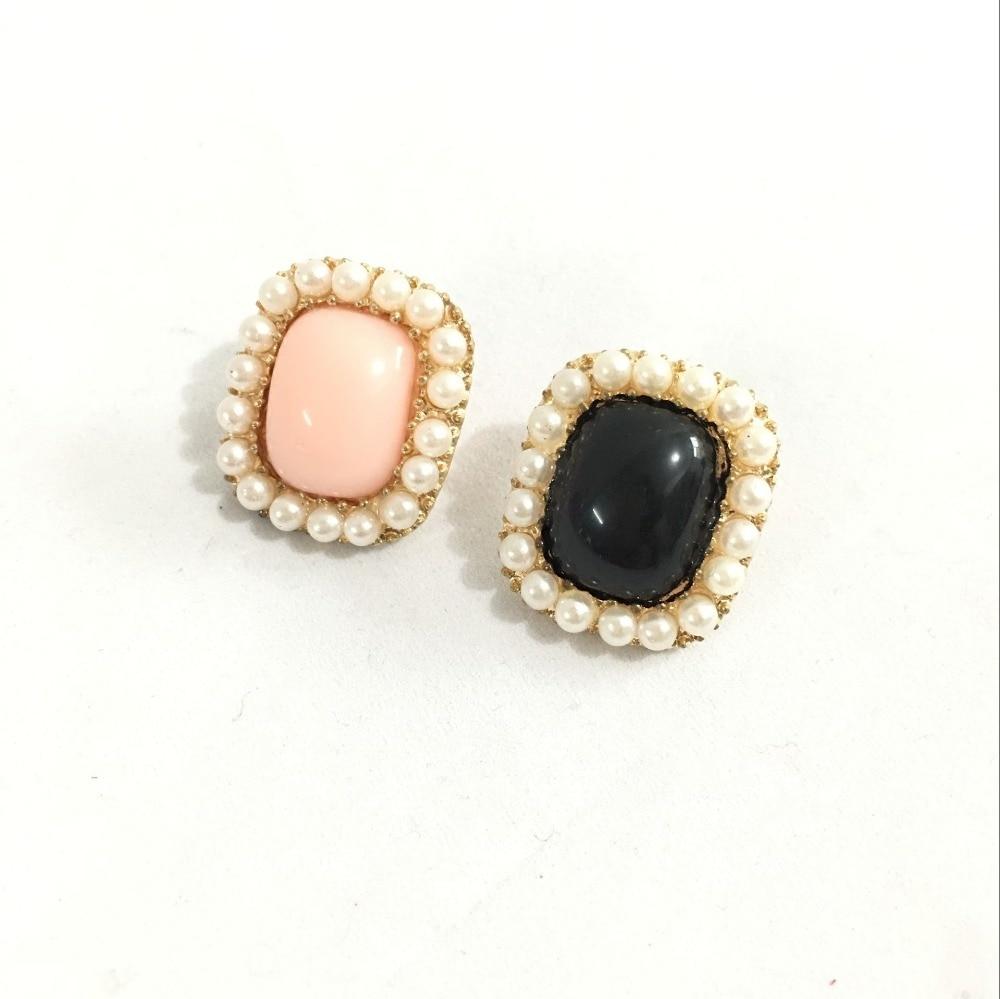 Mini Order $1 ) European And American Jewelry Imitation Pearl Earrings  Women Rimmed Square 4ed215(