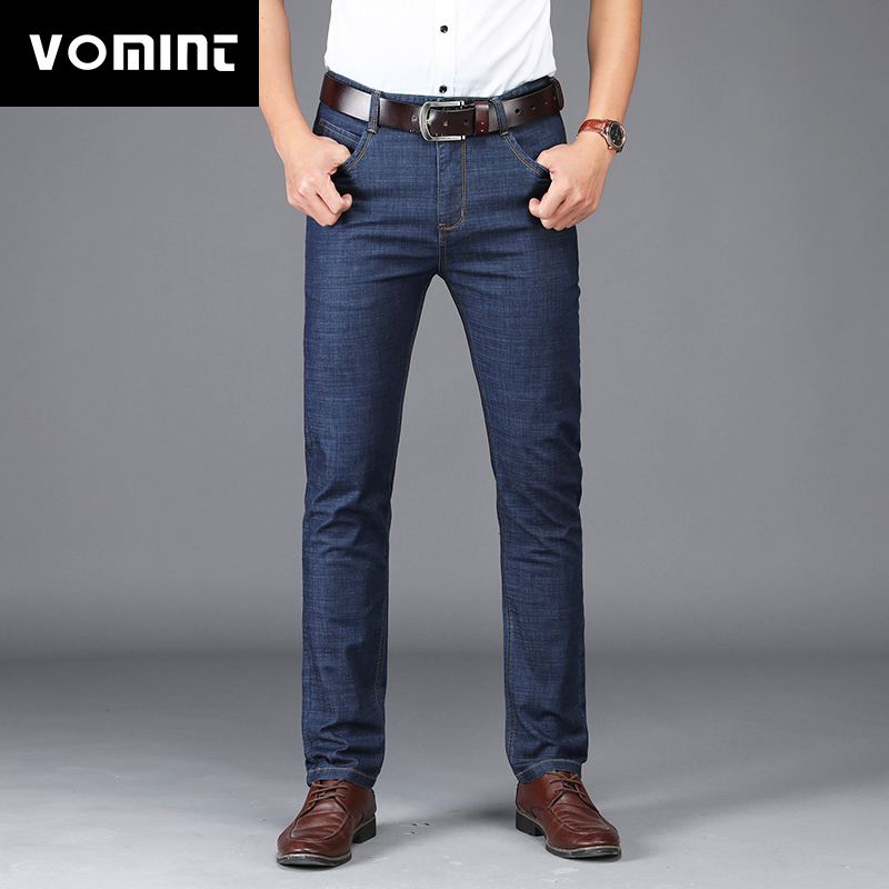 VOMINT 2019 New Men's Jeans Business Style Design Elastic Smart Casual Regular Straight Long Jeans  MS1802