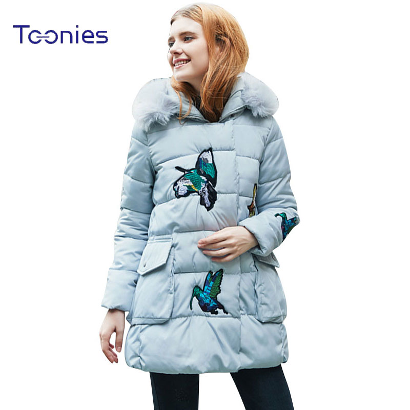 Animal Embroidery Winter Women Warm Long Wool Hooded Parkas Jacket Female Coat Fur Hooded Manteau Femme Hiver Sweet Slim Padded women s thick warm long winter jacket parkas mujer hooded cotton padded coat female manteau femme jassen vrouwen winter mz1954