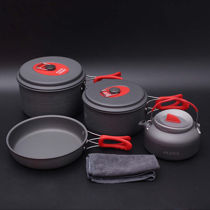 Alocs 3 4 Person Outdoor Pot Kettle Frying Pan Set Camping Cookware Mess Kit CW C06S
