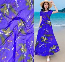 Blue Dragonfly inkjet print 100% pure real Mulberry silk fabric Thin silk chiffon fabric for party dress/sleepwear Scarf(China)