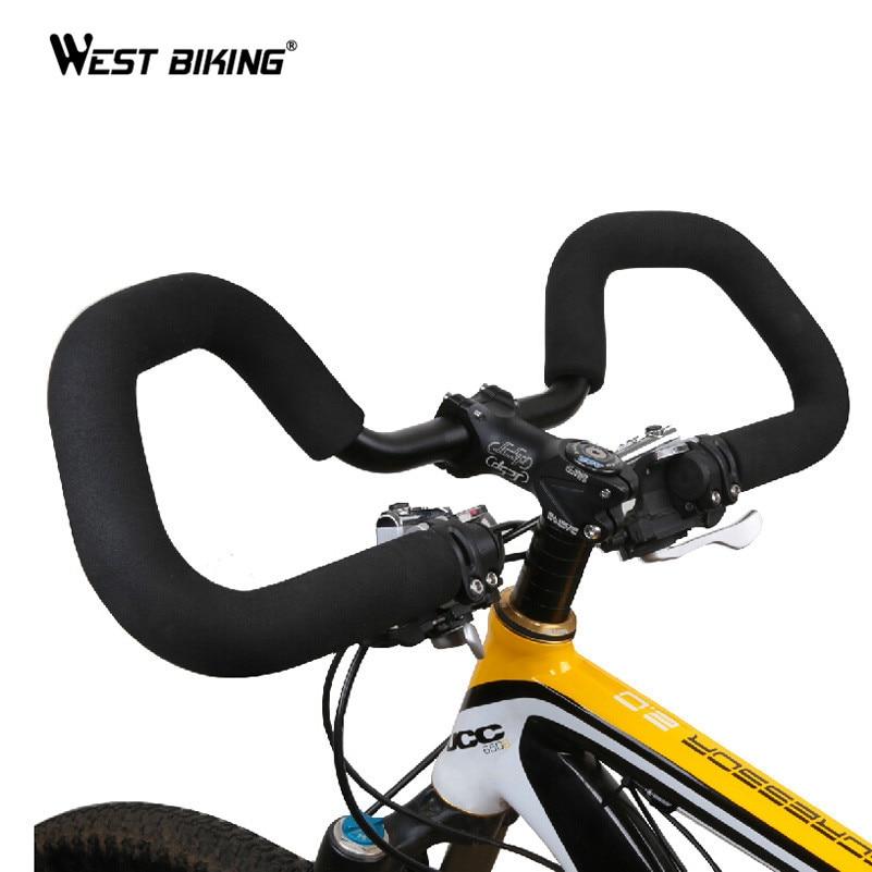 WEST BIKING Cycling Handlebar 25.4/ 31.8*590mm Aluminium MTB Road <font><b>Bike</b></font> Bicycle Butterfly Handlebar+ Handlebar cover Tape