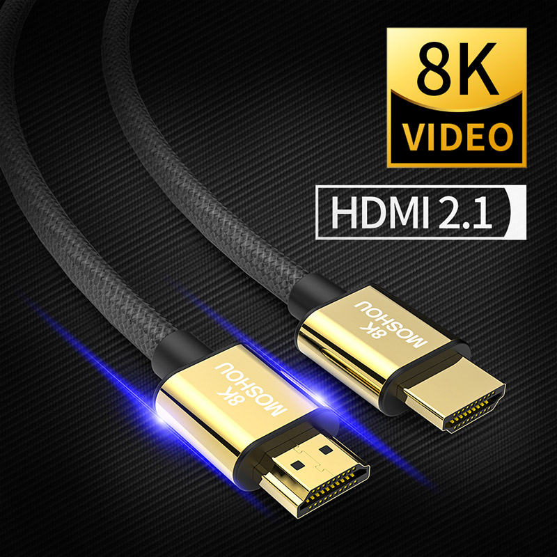 HDMI 2.1 Cables MOSHOU 8K 60Hz 4K 120Hz 48Gbps bandwidth ARC High Definition Multimedia Interface Video Cord for Amplifier TV-in HDMI Cables from Consumer Electronics