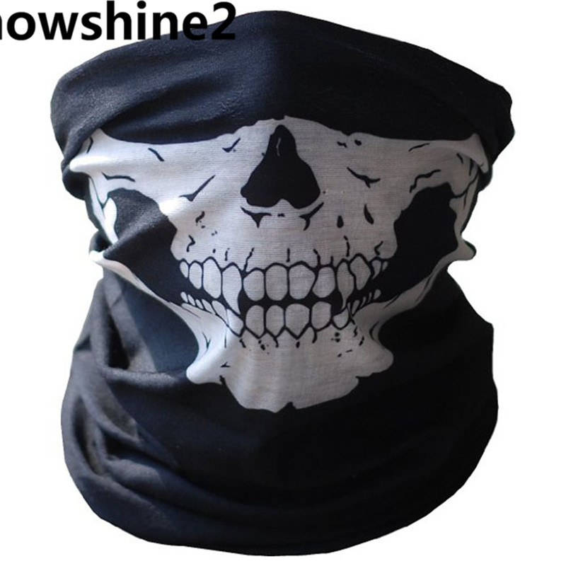 snowshine2#3001 Bicycle Ski Skull Half Face Mask Ghost Scarf Multi Use Neck Warmer COD free shipping wholesale