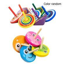 1 шт. деревянные детские игрушки с гироскопом детские настольные спиннинговые игрушки Дети День рождения взрослых облегчение стресс подарки, произвольный цвет