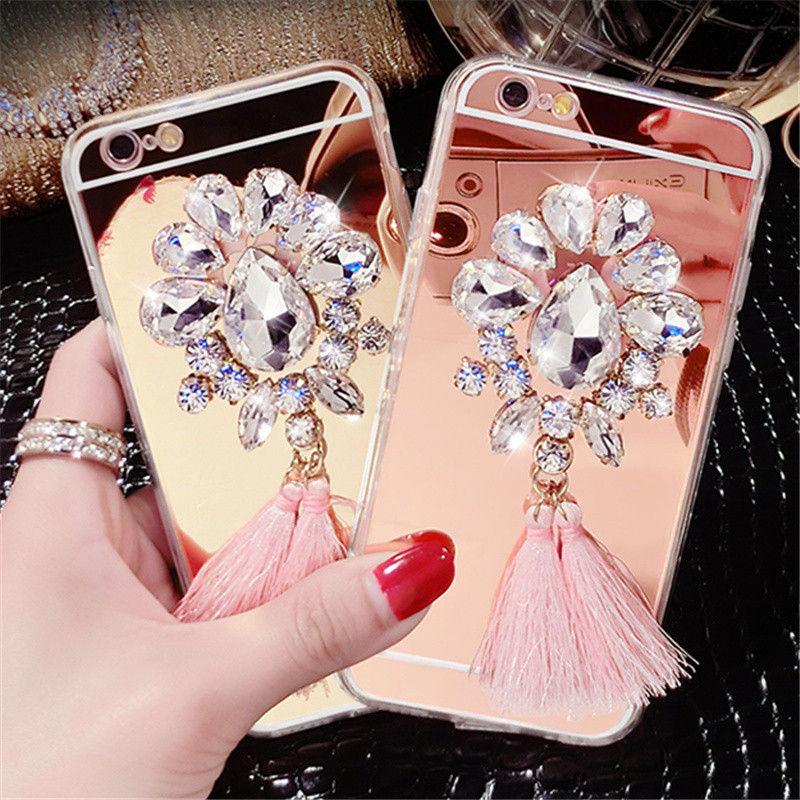 For Iphone 5 5S SE 6 6S PLUS 7 7 PLUS Prime Luxury Bling Diamond Rhinestone <font><b>Tassels</b></font> Mirror Soft TPU <font><b>Case</b></font> Cover <font><b>Phone</b></font> <font><b>Case</b></font> Shell