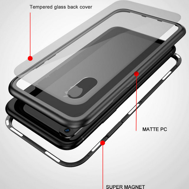 Tempered Glass +Magnet Back Case – iPhone