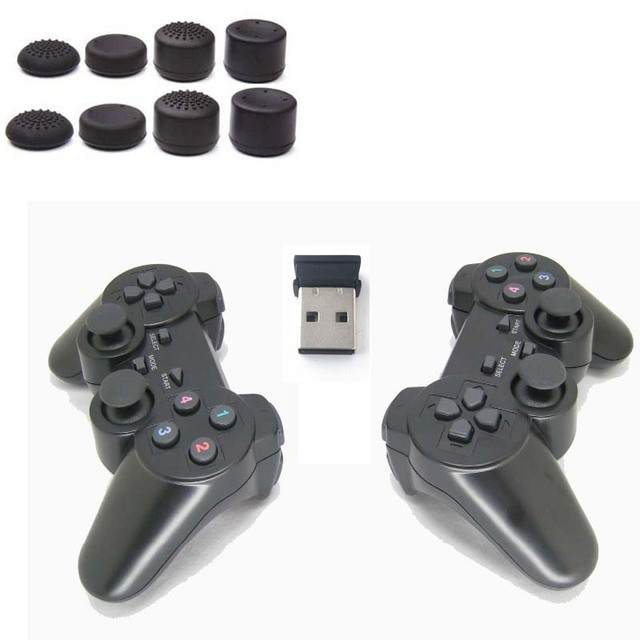 2PCS/LOT 2.4G USB Wireless Dual Games Vibration Gamepad Controller Joystick 3D Analog Stick For PC Laptop Notebook W7/W8 etc.