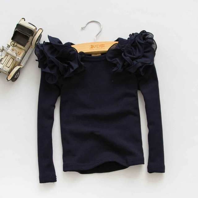 2 to 6 years baby Girls cotton tops, kids spring & fall long sleeve Tees, retail children fashion clothes, 1ES12TS-78R