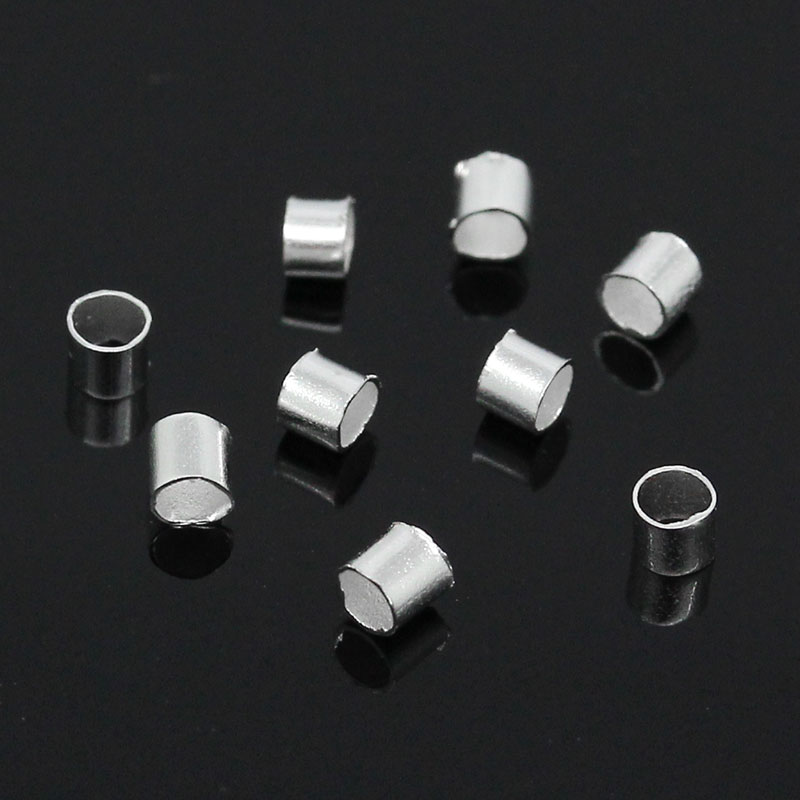 Alloy Crimp Beads Round Silver Plated 1.5mm 2mm( 1/8