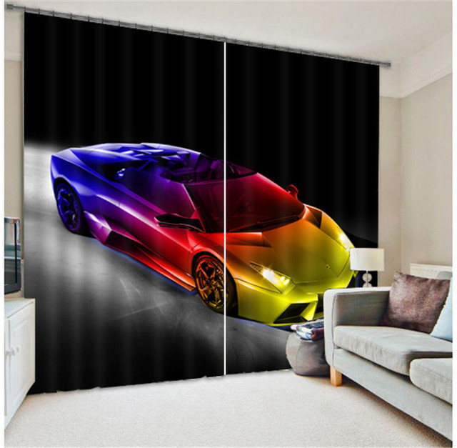 Luxury Car 3d Blackout Window Curtains For Living Room Bedding Room