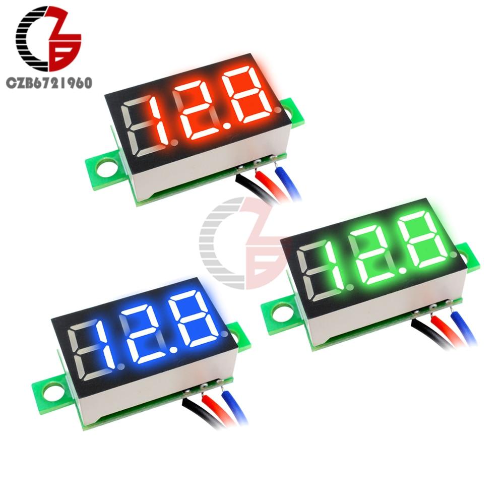 Mini DC 0-30V 2-Cable Voltaje Voltímetro LED Diaplay 3-Digital Medidor Panel