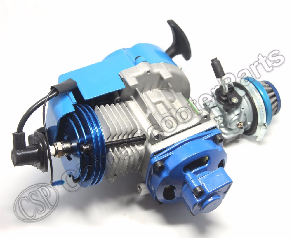 Aliexpress com buy racing 49cc engine alu pull start 15mm carburetor cnc head air filter mini moto pocket atv quad buggy dirt pit bike blue from reliable