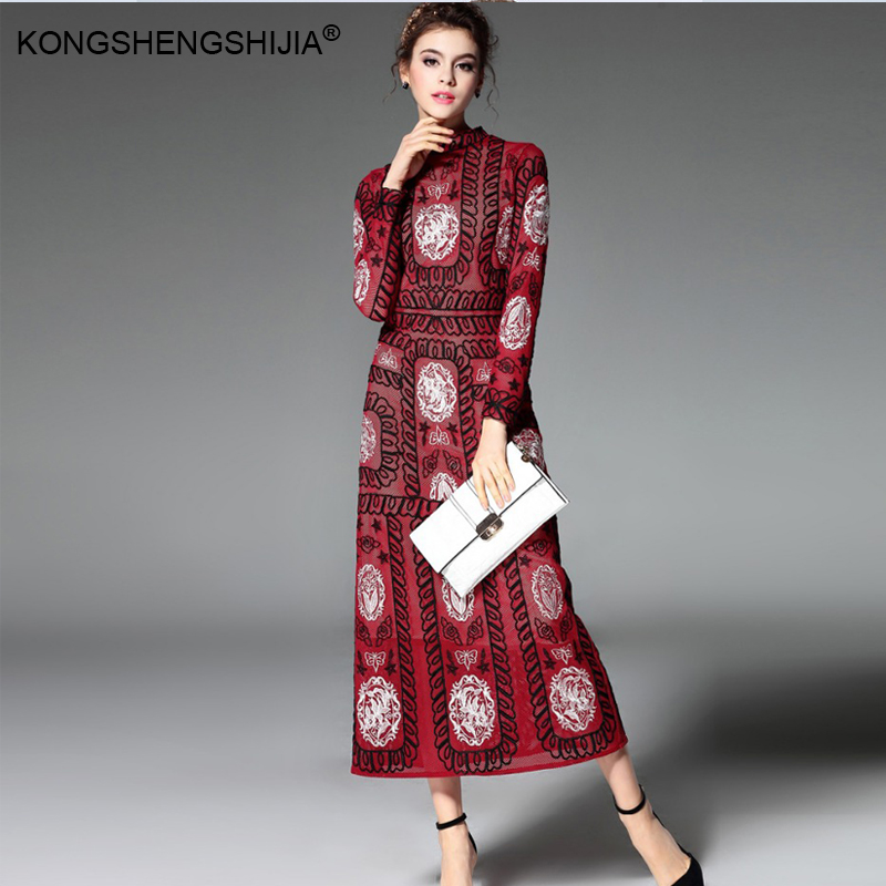 Plus Size 2017 Spring Runway Embroidery Women Dresses New ...