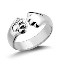 Crystal Cat Claw Rings For Ladies Fashion Cute Christmas Gift For Women Jewelry Ring(China)