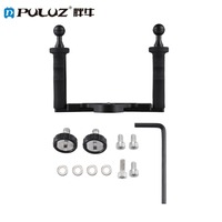 PULUZ Aluminium Tray Dual Handle Grip Handheld Stabilizer with 1/4 Screw Diving Tray for Underwater Camera Housings