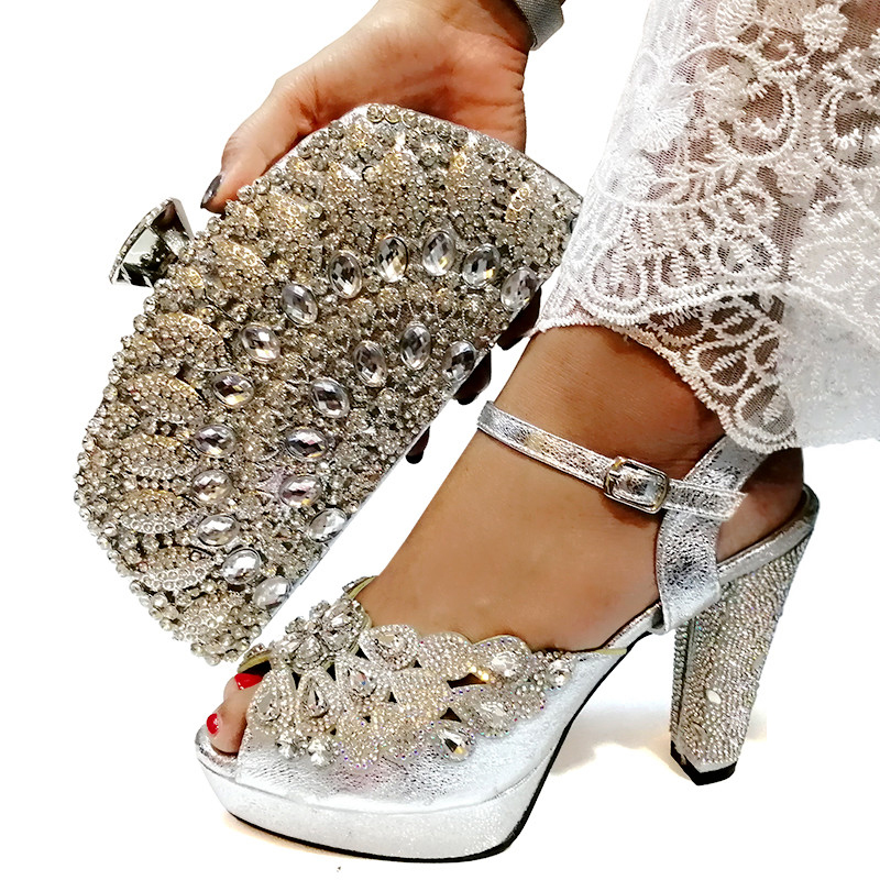 Latest Design Italian Shoes with Matching Bags Set Decorated with Rhinestone African Shoes for Women High Heels Party PumpsLatest Design Italian Shoes with Matching Bags Set Decorated with Rhinestone African Shoes for Women High Heels Party Pumps