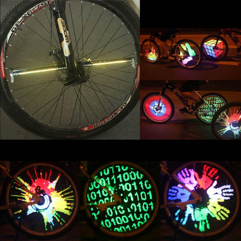 ФОТО New YQ8003 128 LEDs Patterns Changing Bike Wheel Spoke Light Night Riding Colorful Bicycle Lights Hot Sale