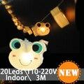 Cumpleaños de los niños de Hadas de Dibujos Animados Rana 3 M 20 LED Luces de la Secuencia de Interior Decoraciones de Vacaciones Luces de La Ventana luci di natale