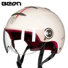 BEON Retro Motorcycle Helmet Vintage Motorbike Helmet Open Half Face Helmet Capacete Scooter Biker Moto Casco Helmet Visor
