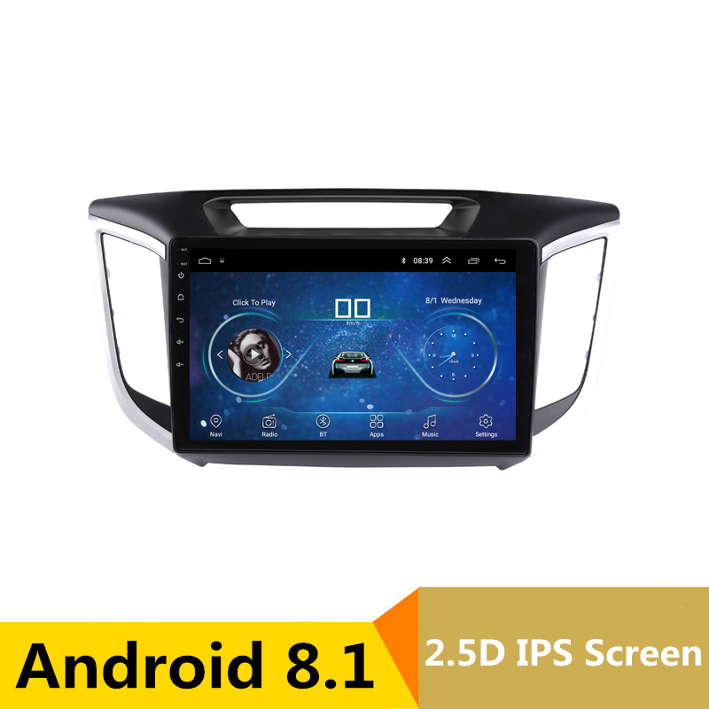 10 2.5D IPS Android 8.1 Car DVD Multimedia Player GPS for Hyundai creta ix25 2014 2015 2016 2017 audio radio stereo navigation коврики в салонные ниши синие ix25 для hyundai creta 2016
