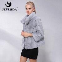 JEPLUDA New Type Natural Real Mink Fur Coat Women Commuting Leisure Short Real Mink Fur Jacket Women Winter Ladies Real Fur Coat