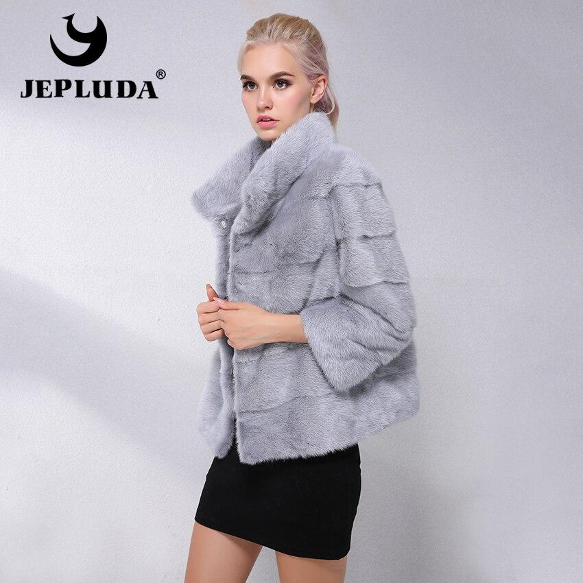 JEPLUDA Novo Tipo Natural Real Mink Fur Coat Mulheres Pendulares-Lazer Curto Mulheres Jaqueta de Inverno Verdadeira Pele De Vison Das Senhoras casaco De Pele verdadeira