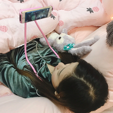 Elastyczny uchwyt na szyję leniwe pas wspierający Selfie Show Show uchwyt tabeli uchwyt na telefon samochodowy uchwyt na wspornik stojakowy uwolnij swoją rękę 3 5-6 3 cal tanie tanio Wiszące Nowoczesne Z tworzywa sztucznego YDY92-2 Neck phone bracket Bed Table Desk Neck For iPhone Samsung Xiaomi Huawei