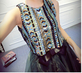 Wholesale New fashio women Sequins neon patchwork Top  harem ds performance wear spliced Pullover jazz Dance sequined short vest