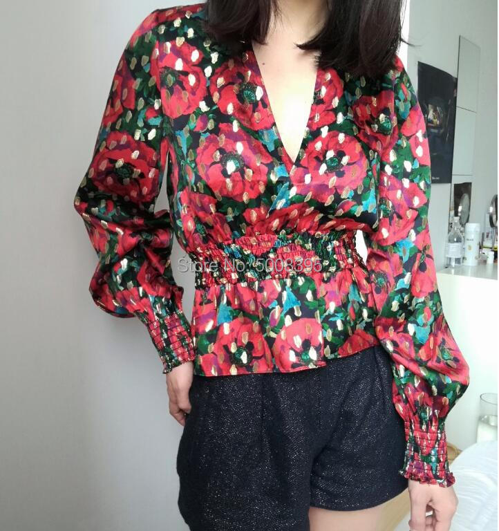 Woman Vintage Floral Print Poppy Silk Blend Blouse Top Wrap V neck Elastic Smocked waist Long Puff Sleeves Tops Fashion-in Blouses & Shirts from Women's Clothing    2