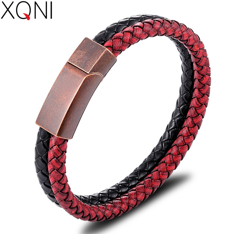 XQNI Popular Men's Leather Bracelet Vintage Rose Gold Color Combination Stitching Leather Pop Birthday Gift Promotional Price