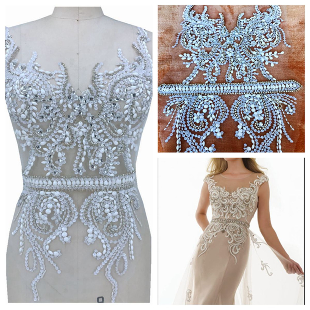 handmade sew on silver white rhinestones applique on mesh peal crystals trim patches 60 30cm for