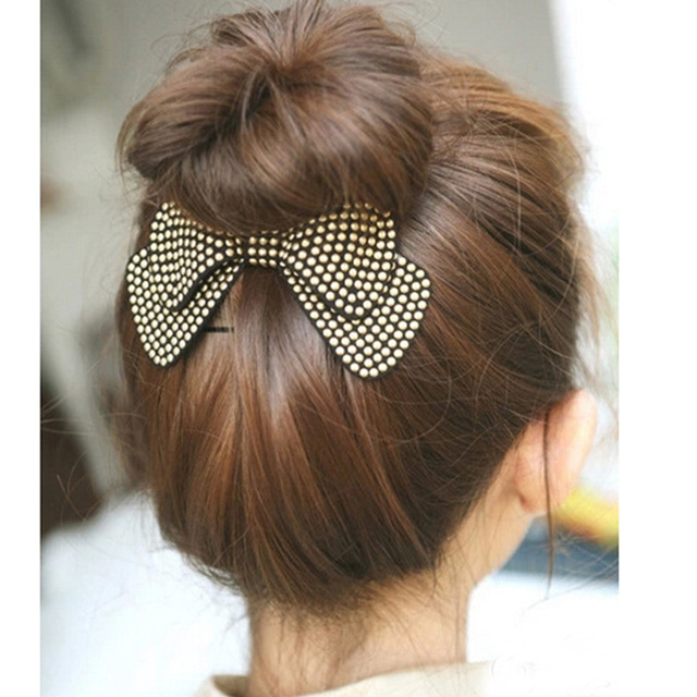 Sale 1Pc 4 Colors Cute Solid Bow Barrettes Hairpin Women Fashion New Arrival Cha