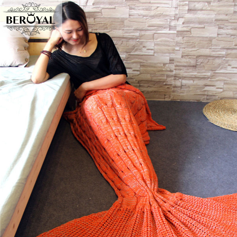 New 2017 Mermaid Blanket — 100% Polyester Sofa Blanket Super Soft Knitted Adult / Kids Blankets Beroyal Brand Bedding 60*160cm
