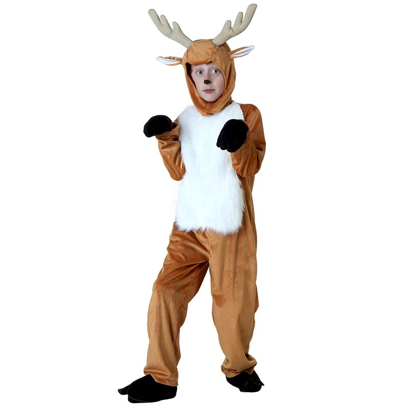 Boys Animal Bodysuit Costumes Child Deer Costume With Antlers Cute Deer White Fur Belly & Tail Girls Cosplay Colthing Christmas