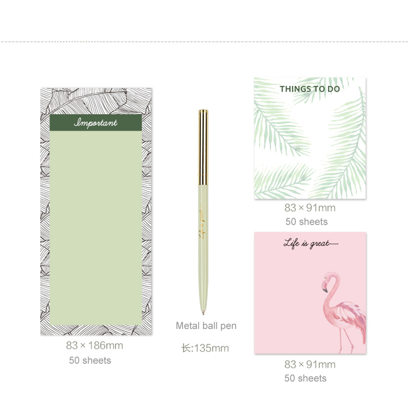 NEVER Plants series sticky notes memo pad Flamingo Ball pen Stationery set office accessories business Stationery store 2018 never rose gold memo pad set cute post it sticky notes notepads set fashion creative gift office accessories stationery store