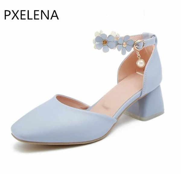 26f0a259 ... PXELENA azul Rosa Blanco flor novia boda sandalias mujeres grueso  bloque Med tacones zapatos 2018 cuadrado ...