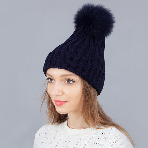 2017 Fashion Real Fox Fur Pom Poms Ball Keep Warm Winter Hat For Women Girl 'S Wool Hat Knitted Beanies Cap Thick Female Cap