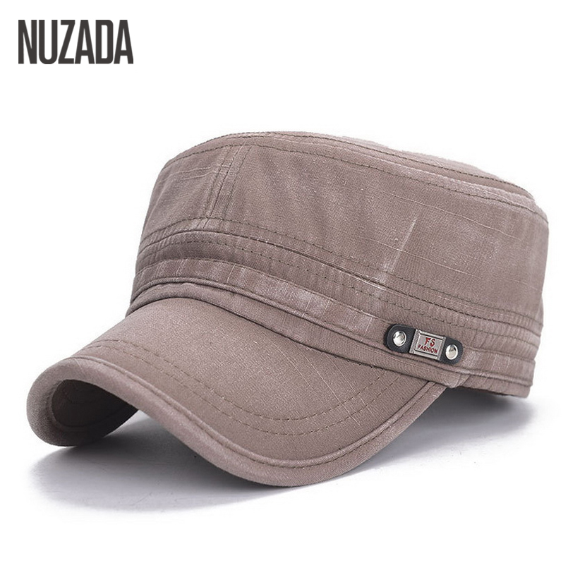 Brand NUZADA 2017 Vintage Military Hats Cotton Unisex Men Women Flat Top Cap Solid Color Summer Autumn Spring Visor Hat