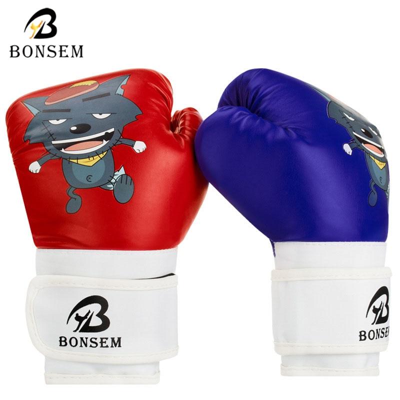 Prix pour BONSEM 6 OZ Gants De Boxe de Bande Dessinée pour Enfants Garçons Cadeau MMA PU Mousse Éponge PracticKick Kickboxing Gants De Boxe Muay Thai 2017 nouveau