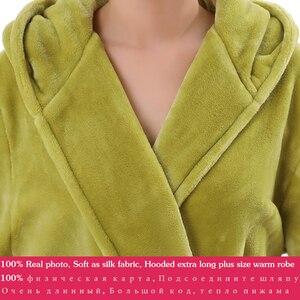 Image 5 - Frauen Mit Kapuze Extra Lange Warme Bademantel Heißer Verdickung Flanell Winter Kimono Bad Robe Männer Thermische Dressing Kleid Brautjungfer Roben