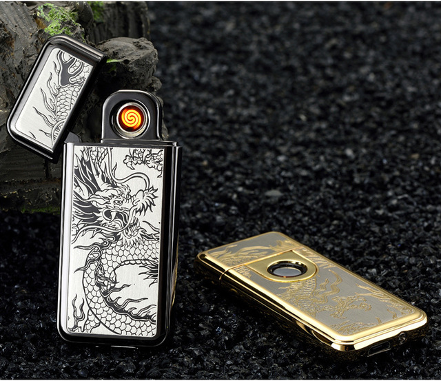 New Ultrathin Metal Lighters Fingerprint Induction Double-sided Cigarette Lighter USB With Charging