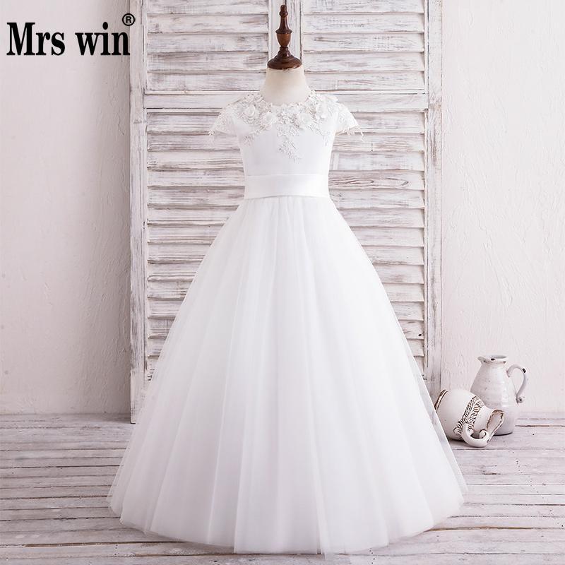 Robe De Bal Enfant Flower Girl Dresses 2018 New Elegant White O-neck Luxury Applique Ball Gown For Girls Vestido Daminha X