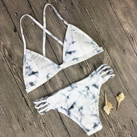 Bikini 2017 Bikinis Women Swimsuit Marble Prints Bandage Swimwear Cross Back Bathing Suit Cut Out Bikini