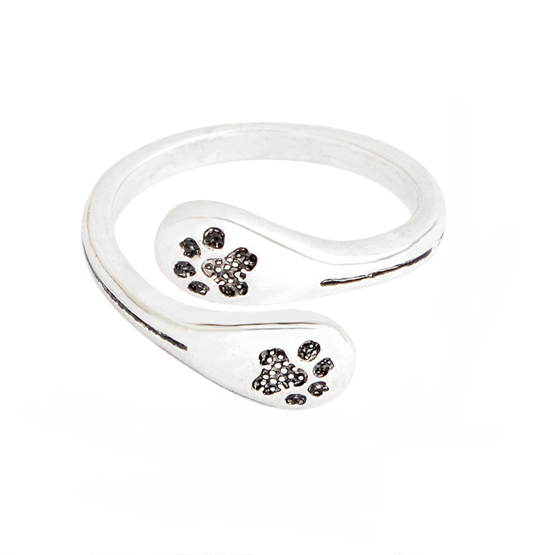 Animal Paw Print Ring Cat Dog Pet Opening Adjustable Ancient Silver Ring Animal Lovers Gifts Women Children Family Jewelry