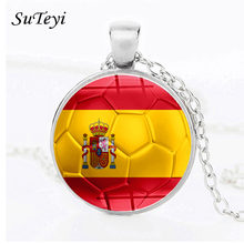 SUTEYI Fashion Football Print Glass Pendant Necklace Spain Poland Germany France Portugal Serbia Russia England National Flag(China)